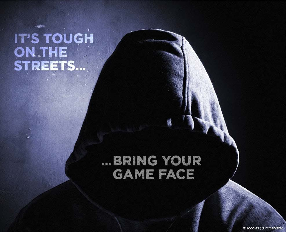 Advertising concept for hoodies - bring your game face