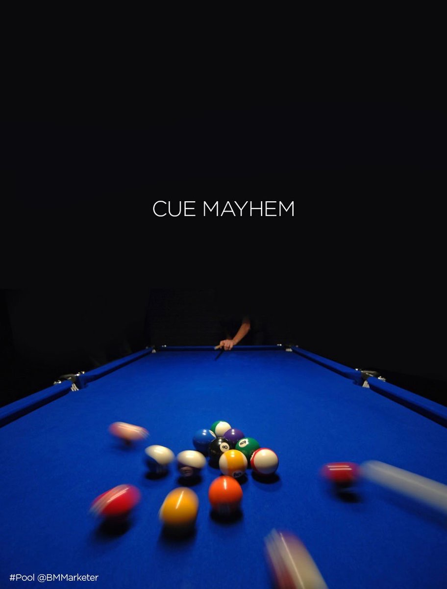 Advertising concept for pool - cue mayhem
