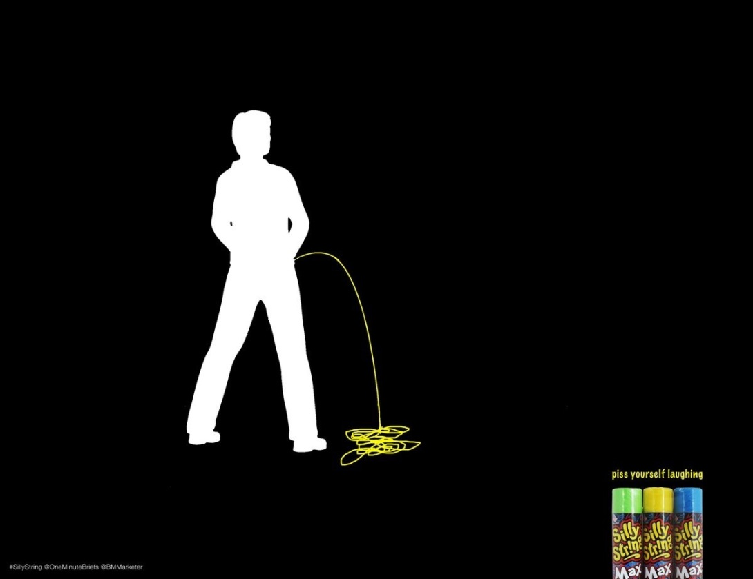 Advertising concept for silly string