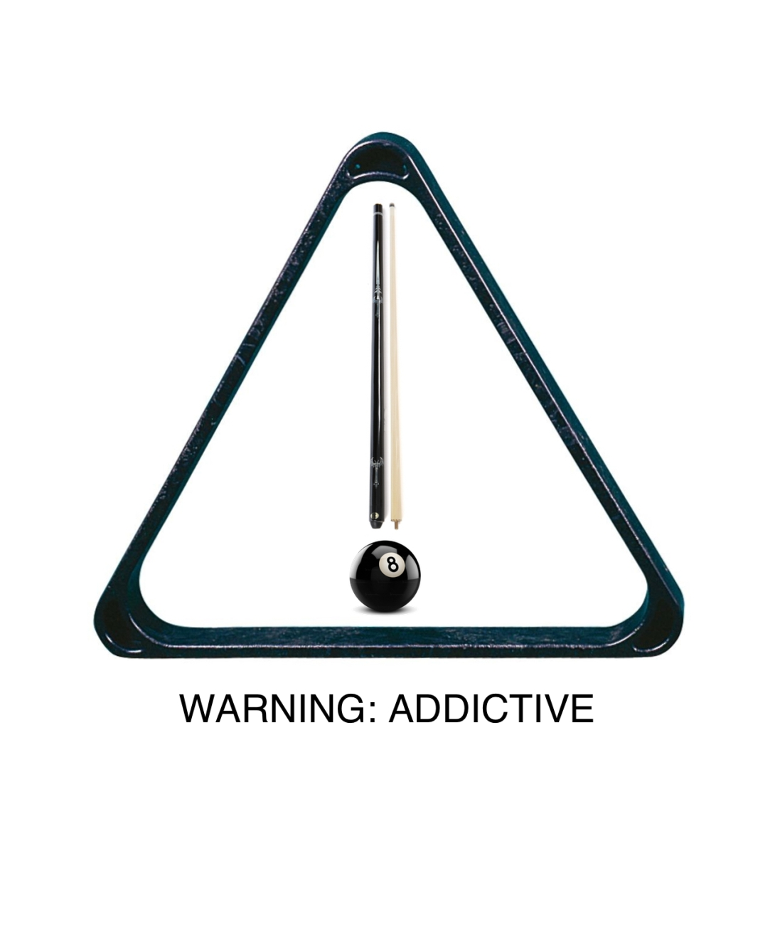 Advertising concept for pool - warning - addictive