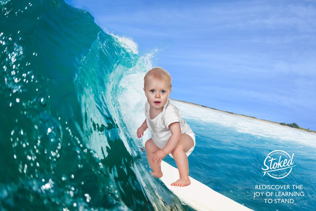advertising concept for surfing - re-learn to stand