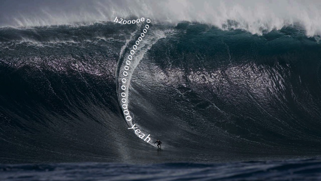 Surfing advertising concept - h2o yeah