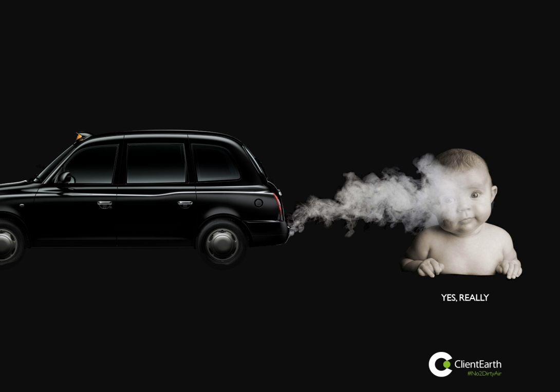 advertising concept to raise awareness of pollution in cities - baby inhaling exhaust fumes