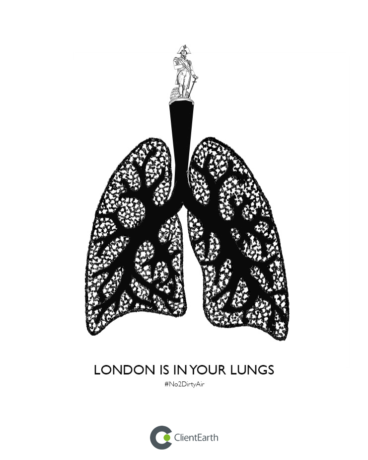 advertising concept to raise awareness of pollution in cities - London in your lungs