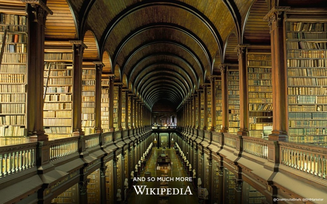 Wikipedia advertising concept - library
