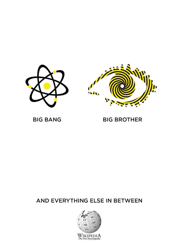 Wikipedia advertising concept - big bang and big brother