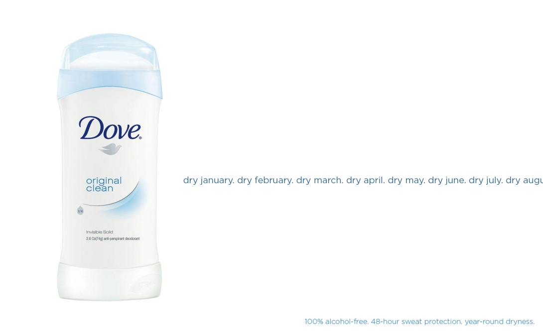 ad idea for dry january - alcohol-free anti-perspirant