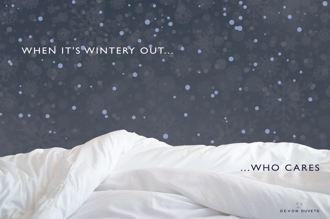 advertising concept for duvets - visual similarity to snow