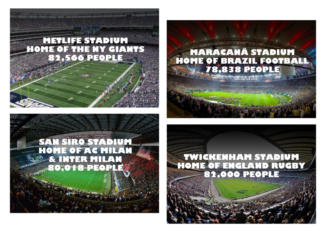 Using imagery of sport stadiums to make a marketing point
