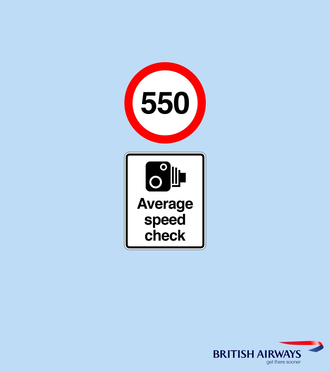 ad idea for British Airways domestic flights - average speed check 550 mph