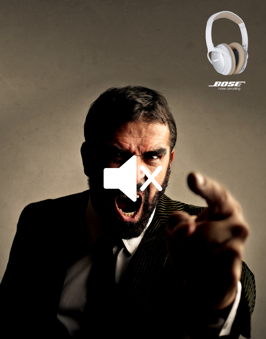 Advertising concept for noise cancelling headphones - mute