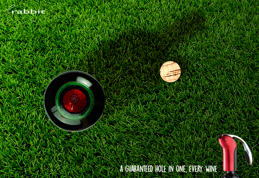 advertising idea for a leading bottle opener brand - a hole in one every wine