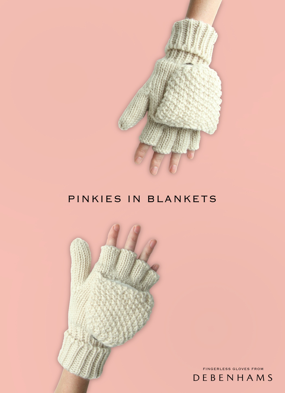 advertising idea for fingerless gloves - pinkies in blankets