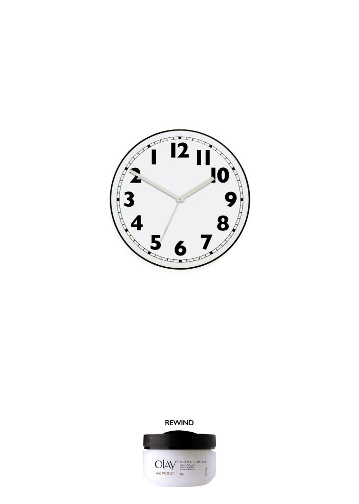An advertising idea for anti-ageing cream - a clock that runs backwards