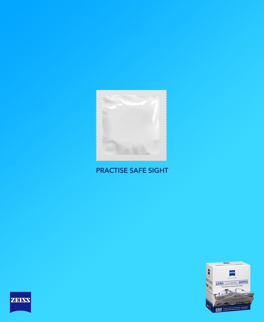 An advertising idea for a lens cleaner brand - practise safe sight
