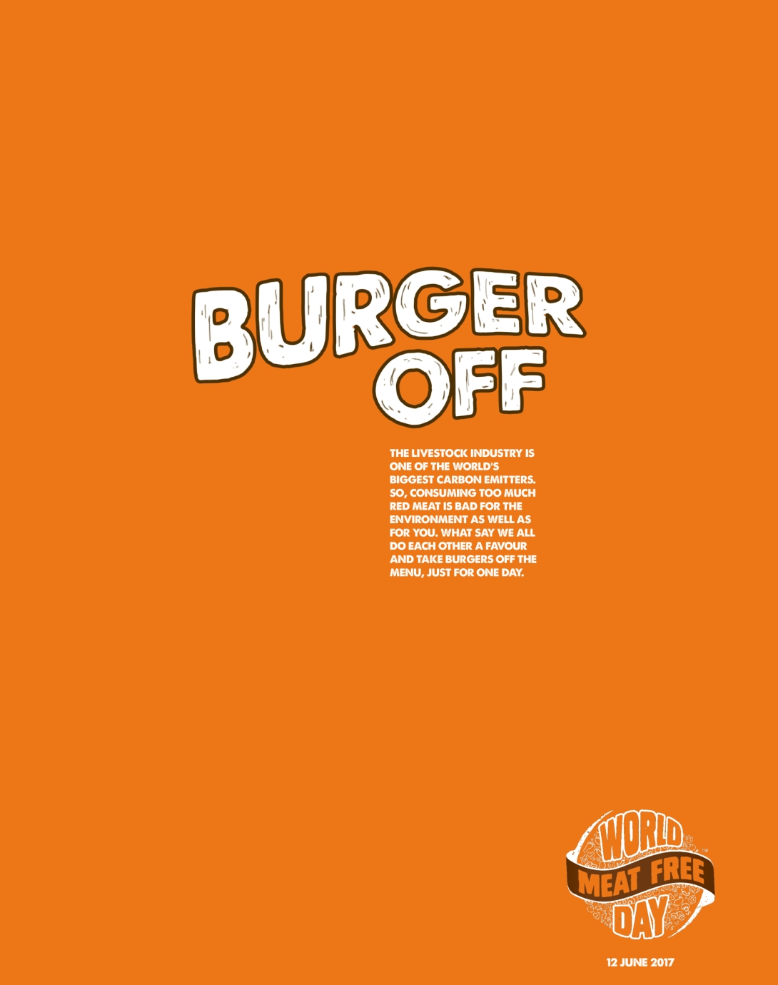 Advertising concept for world meat free day - burger off