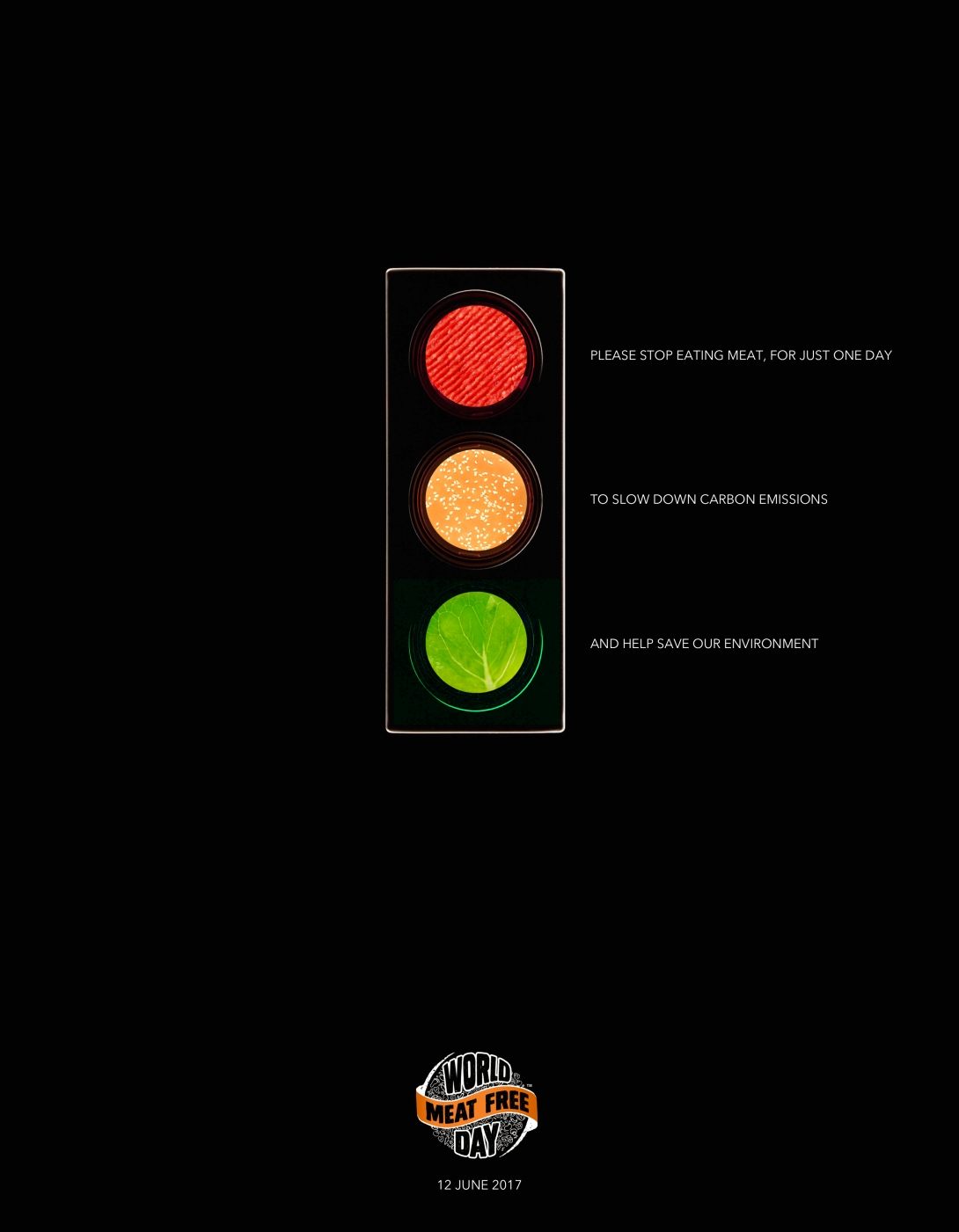 Advertising concept for world meat free day - traffic lights