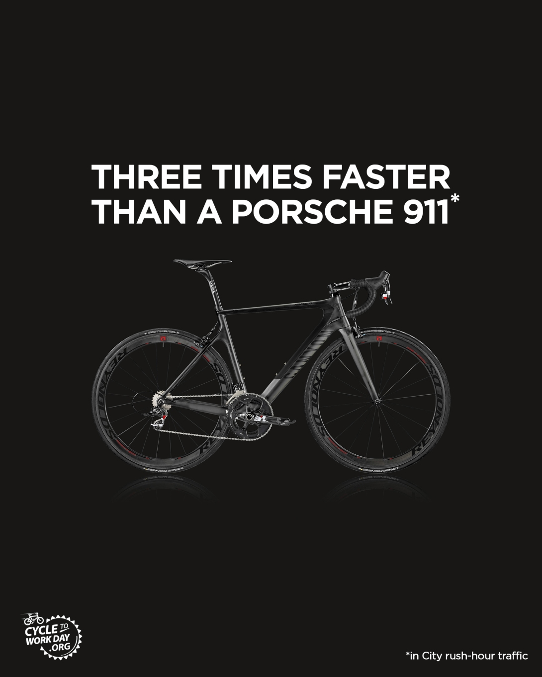 advertising idea for cycle to work day - a bike is three times faster than a Porsche 911 in rush-hour city traffic