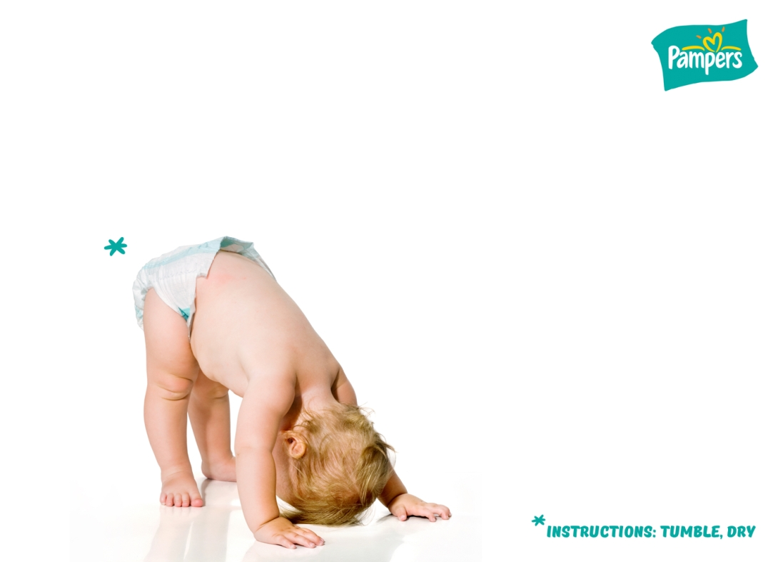 advertising idea for a nappies or diapers brand - tumble dry