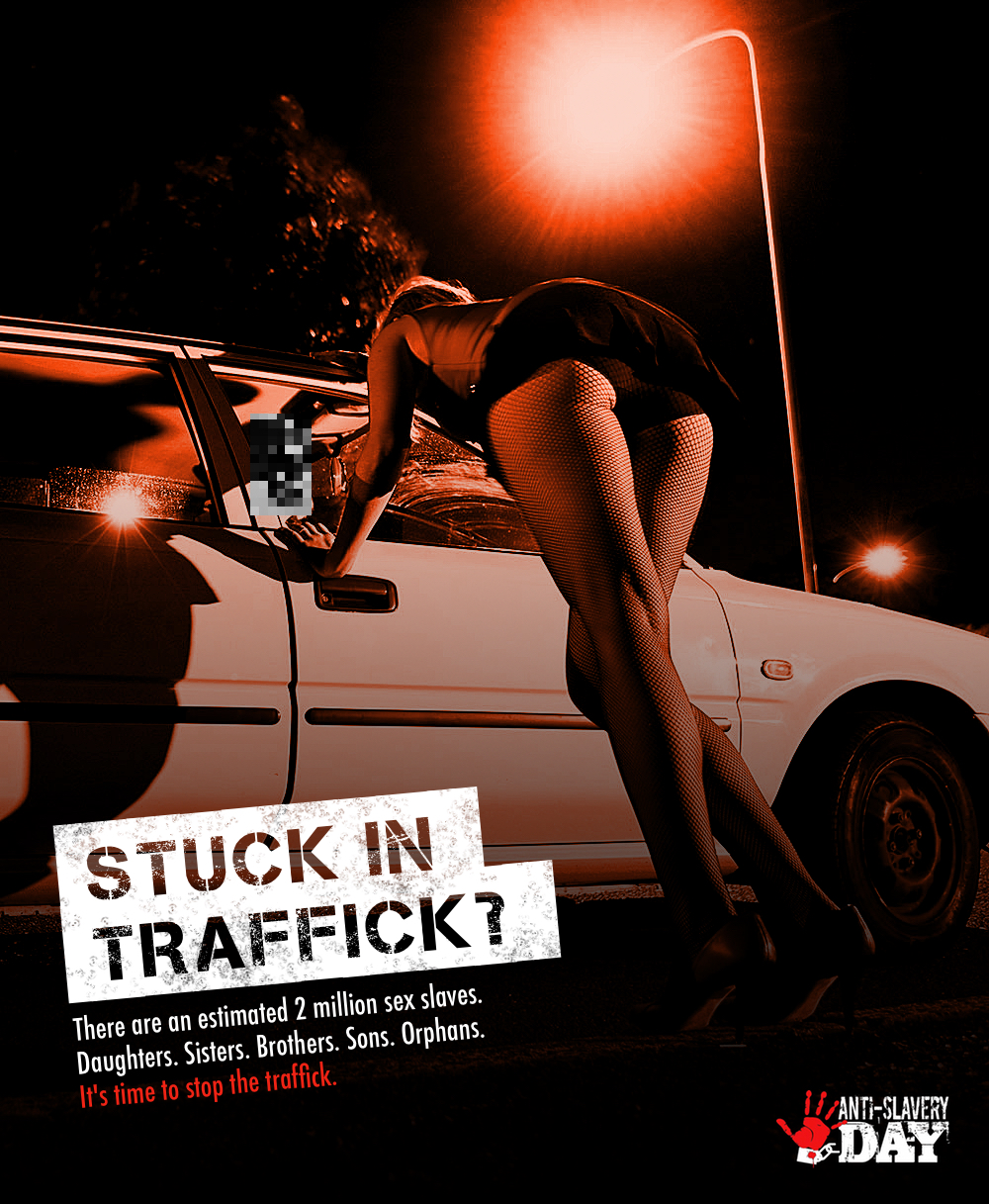 Advertising idea for anti-slavery day - stop the traffick