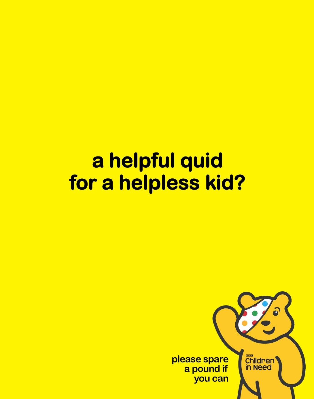 poster idea for Children in Need - the BBC's kids charity in the UK