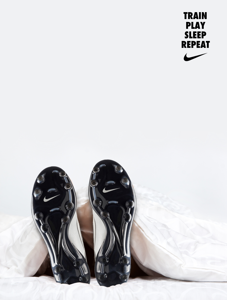 Nike football boots advertising idea - train play sleep repeat