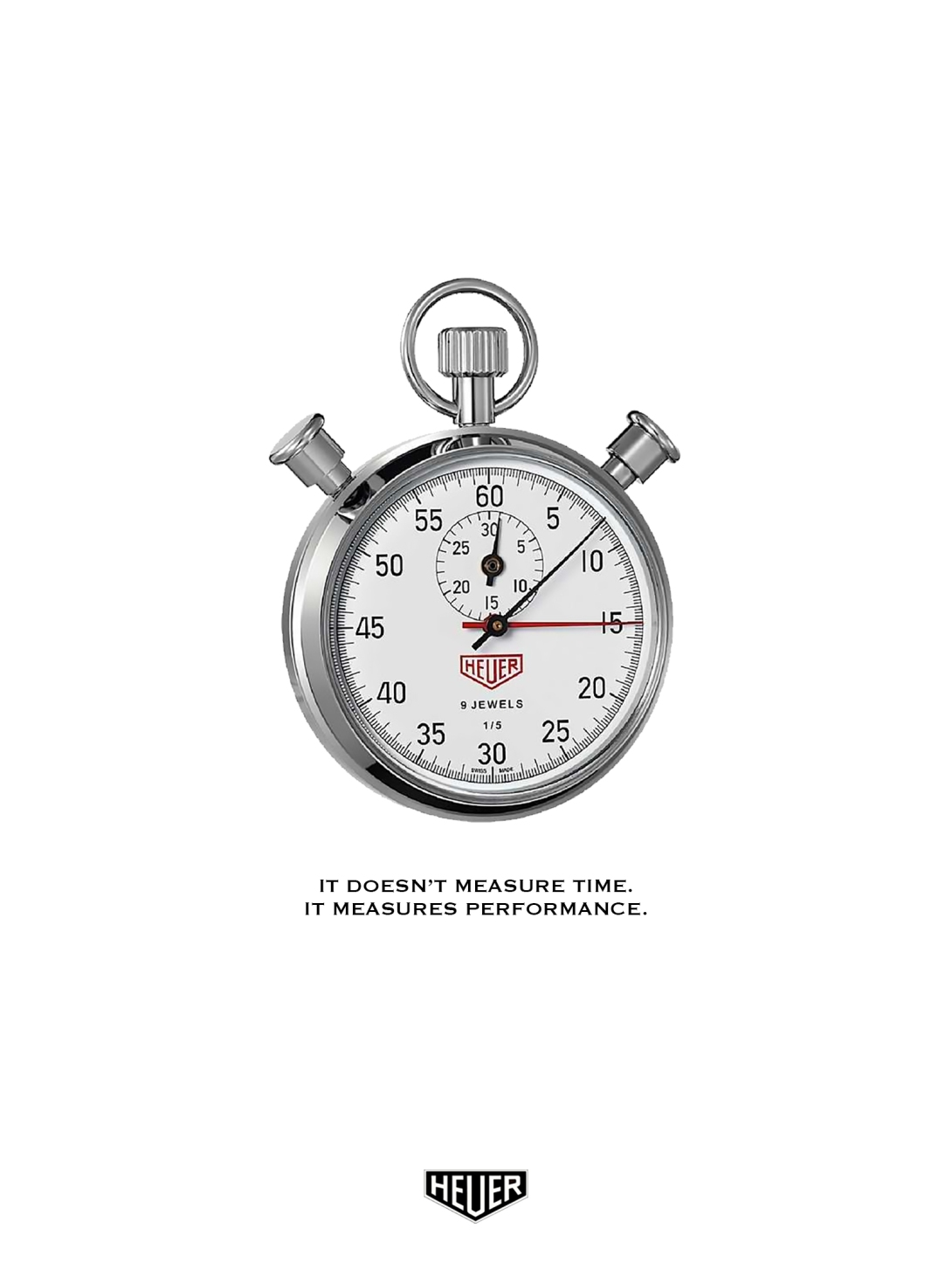 rough advertising concept for a stopwatch brand - it doesn't measure time, it measures performance