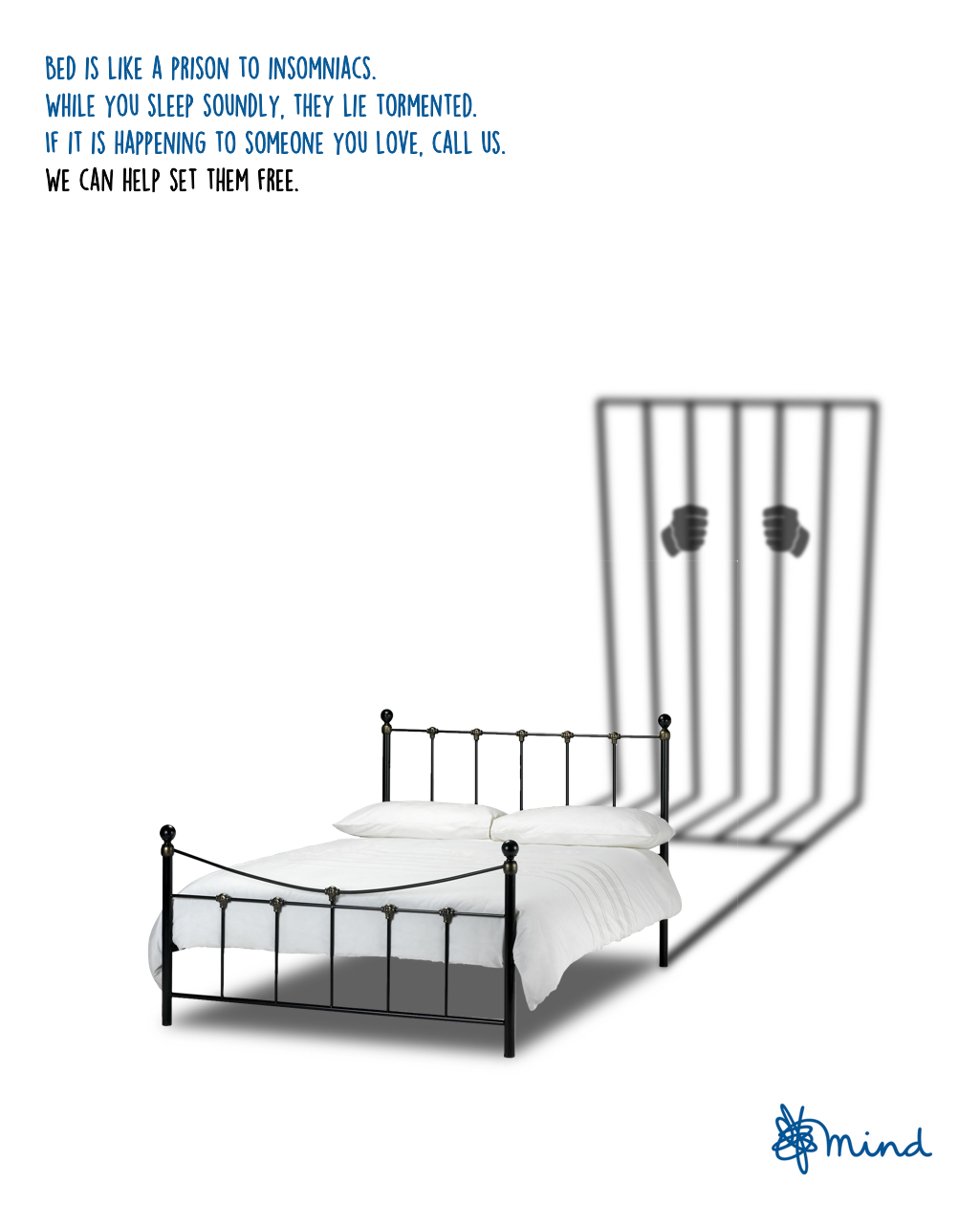 advertising idea to raise awareness of insomnia - bed is like a prison to insomniacs