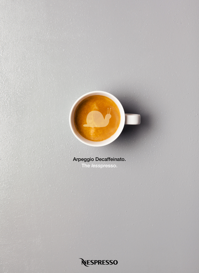 advertising concept for a decaf coffee brand - the lesspresso