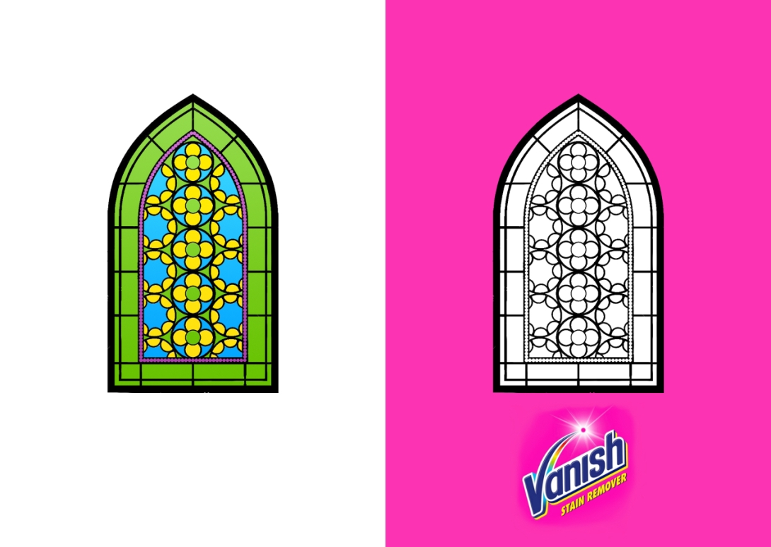 advertising concept for a stain remover brand - stained glass windows