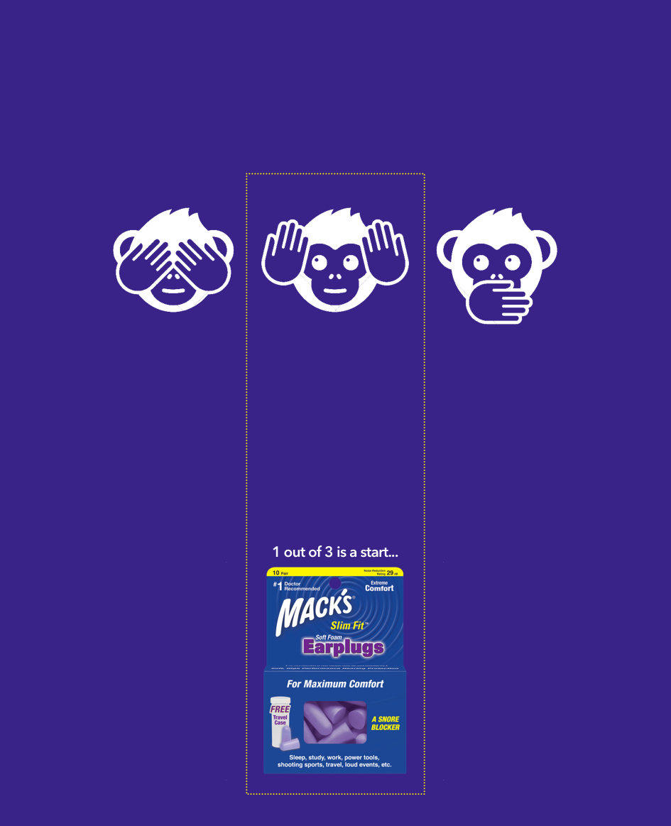 advertising concept for an ear plugs brand - hear no evil