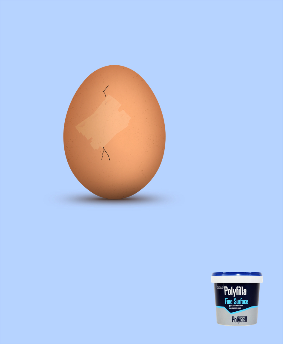 advertising concept for a fine surface filler