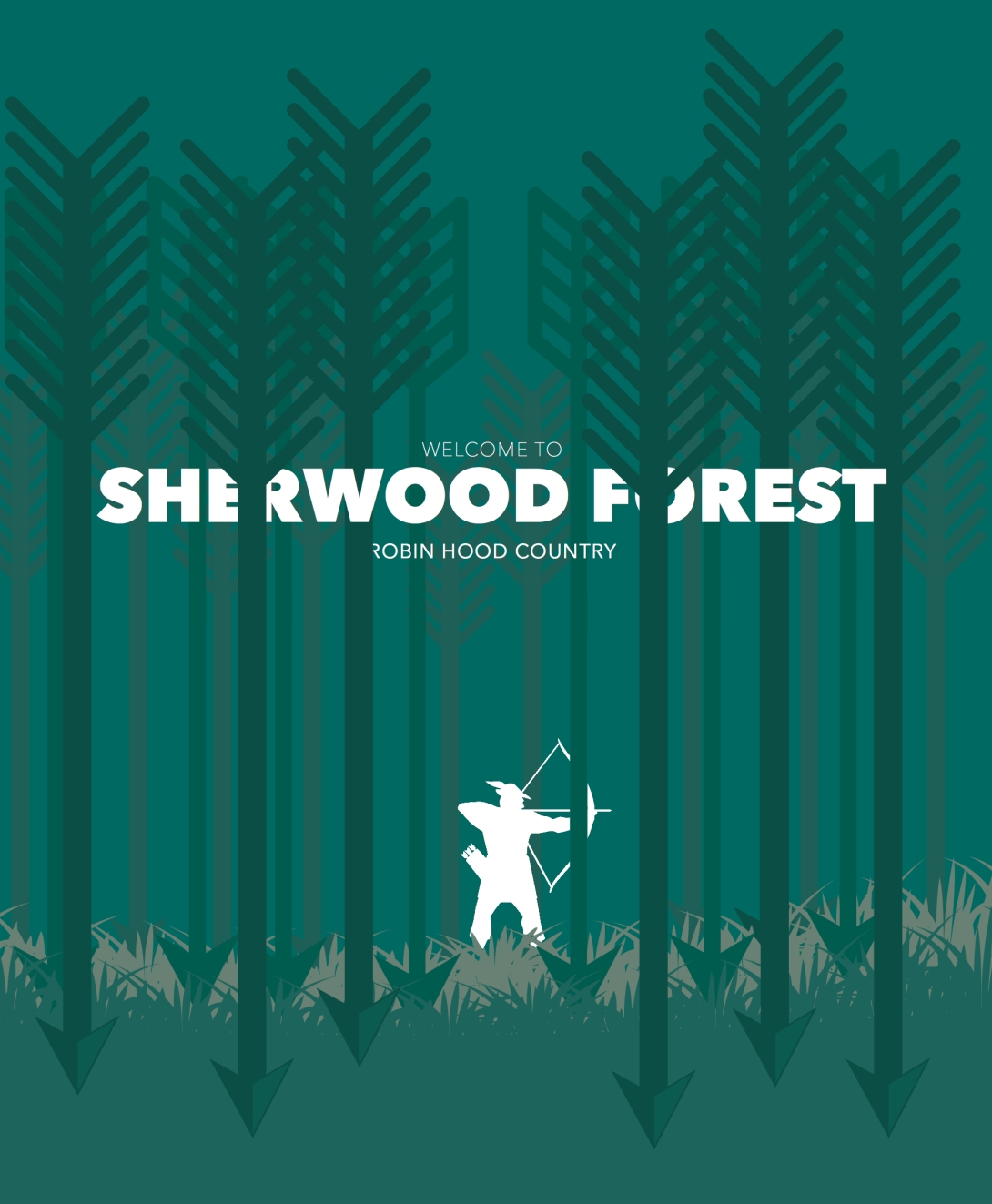 advertising poster concept for Robin Hood and Sherwood Forest - arrows