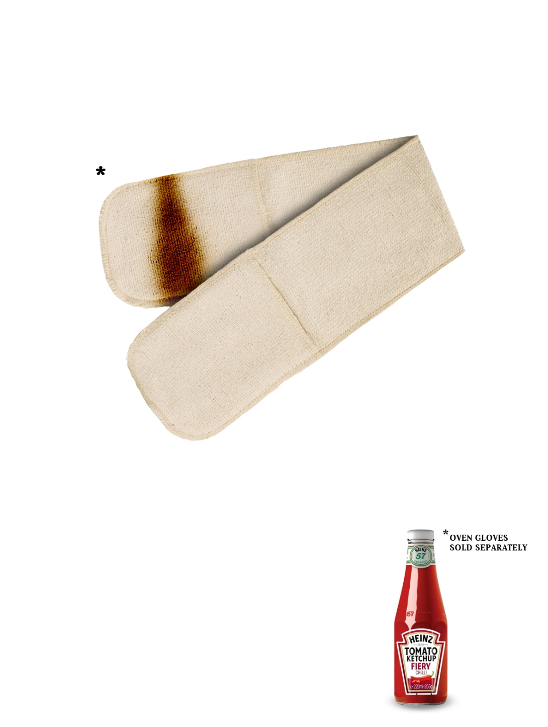 advertising concept for a chilli ketchup brand - oven gloves