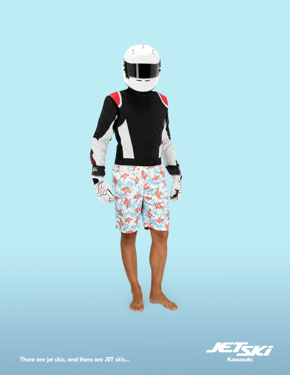 advertising concept for an advertising brand - biker in swim shorts