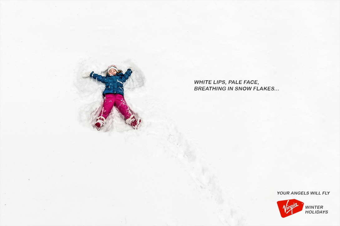 advertising idea for a winter holidays brand - angels will fly