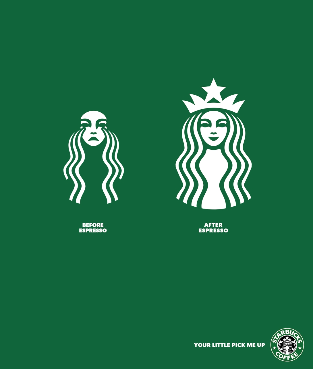 advertising concept - before and after espresso