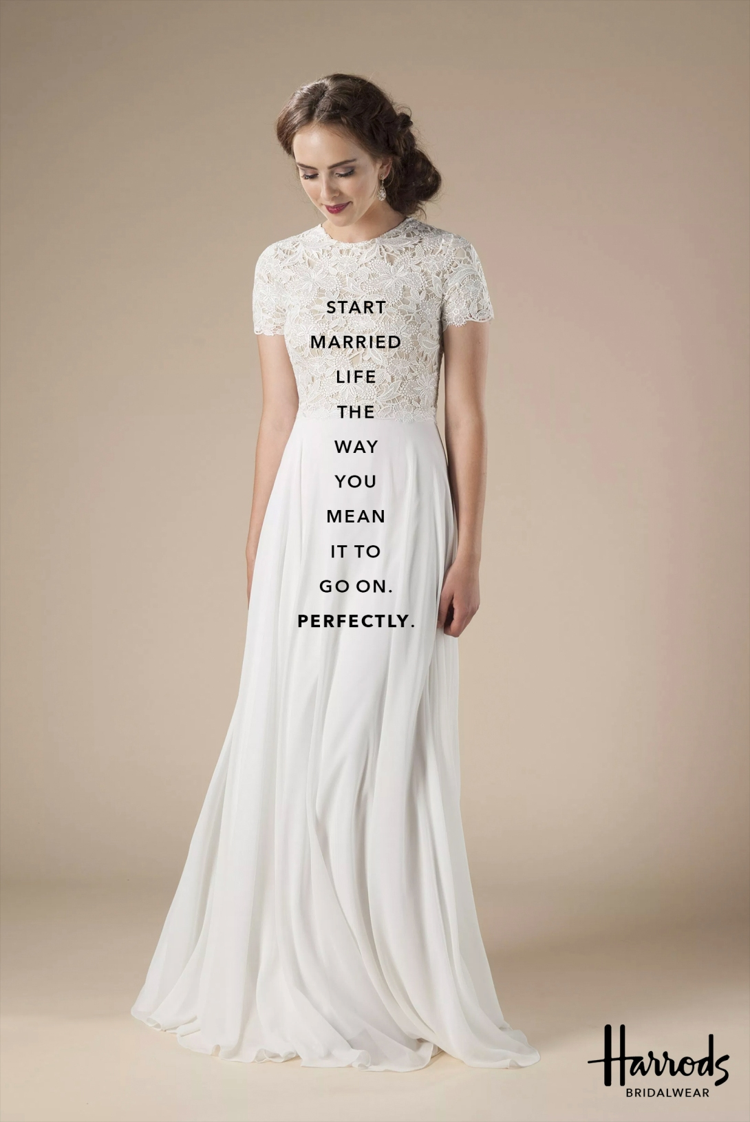 quick advertising concept for a bridal wear brand - start married life the way you mean it to go on - perfectly