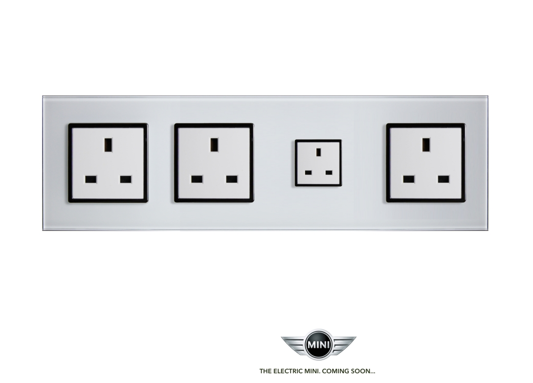 advertising idea for Mini's forthcoming electric car - the mini plug socket