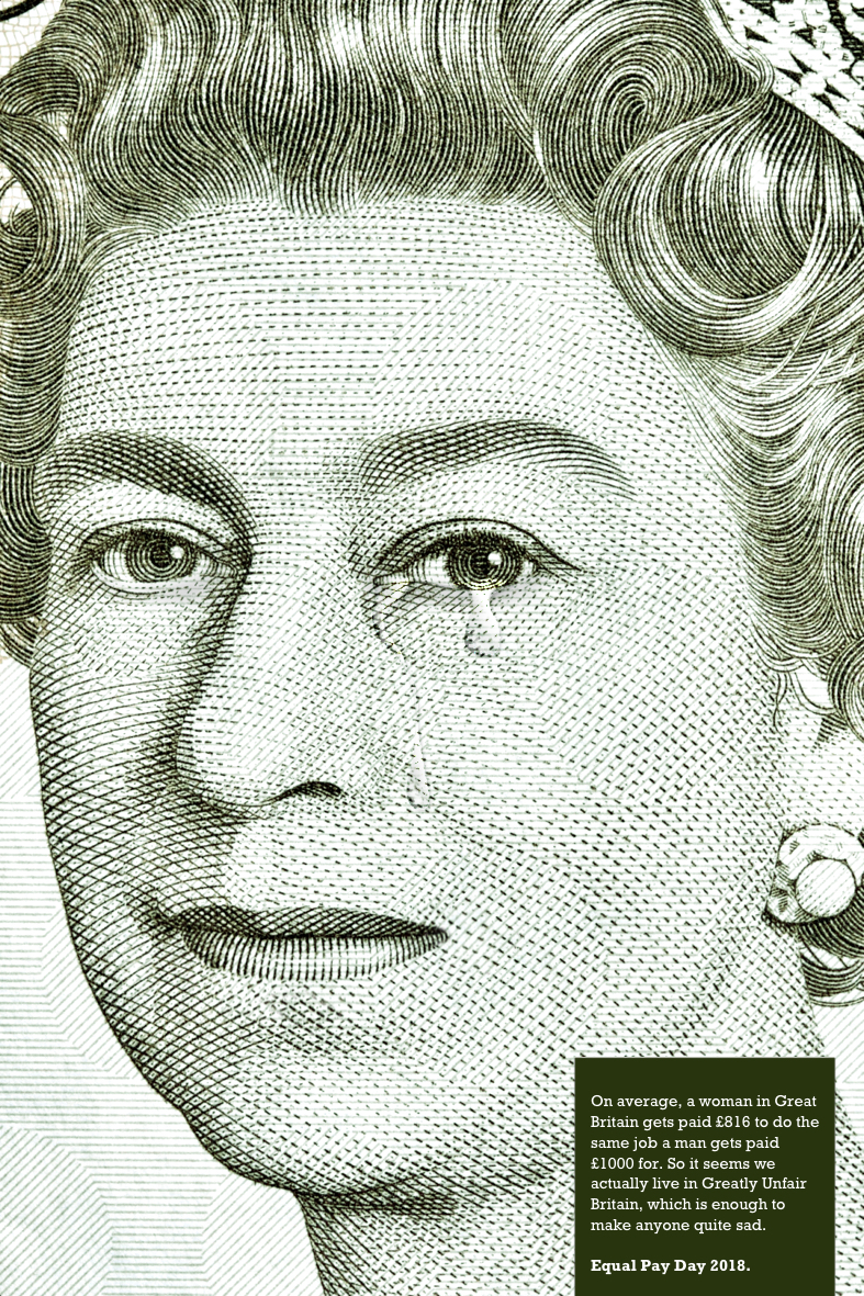 sad queen - greatly unfair Britain - advertising concept for equal pay day