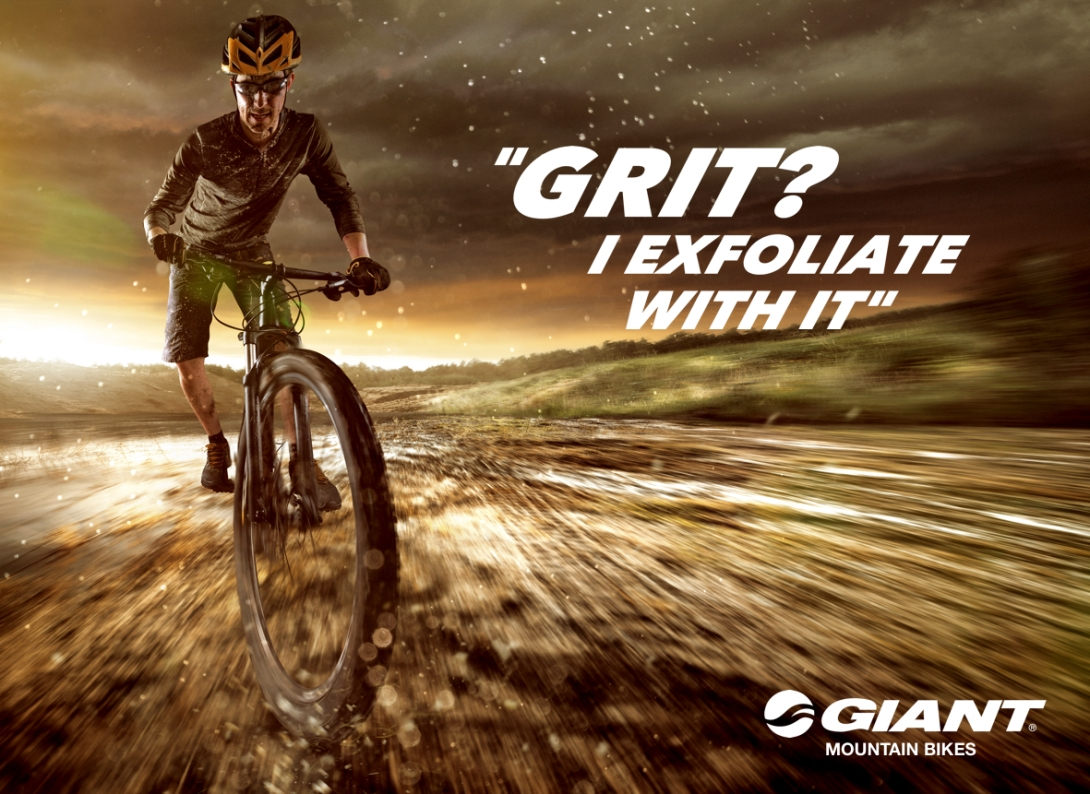 Quick advertising concept for a mountain bike brand - grit - i exfoliate with it