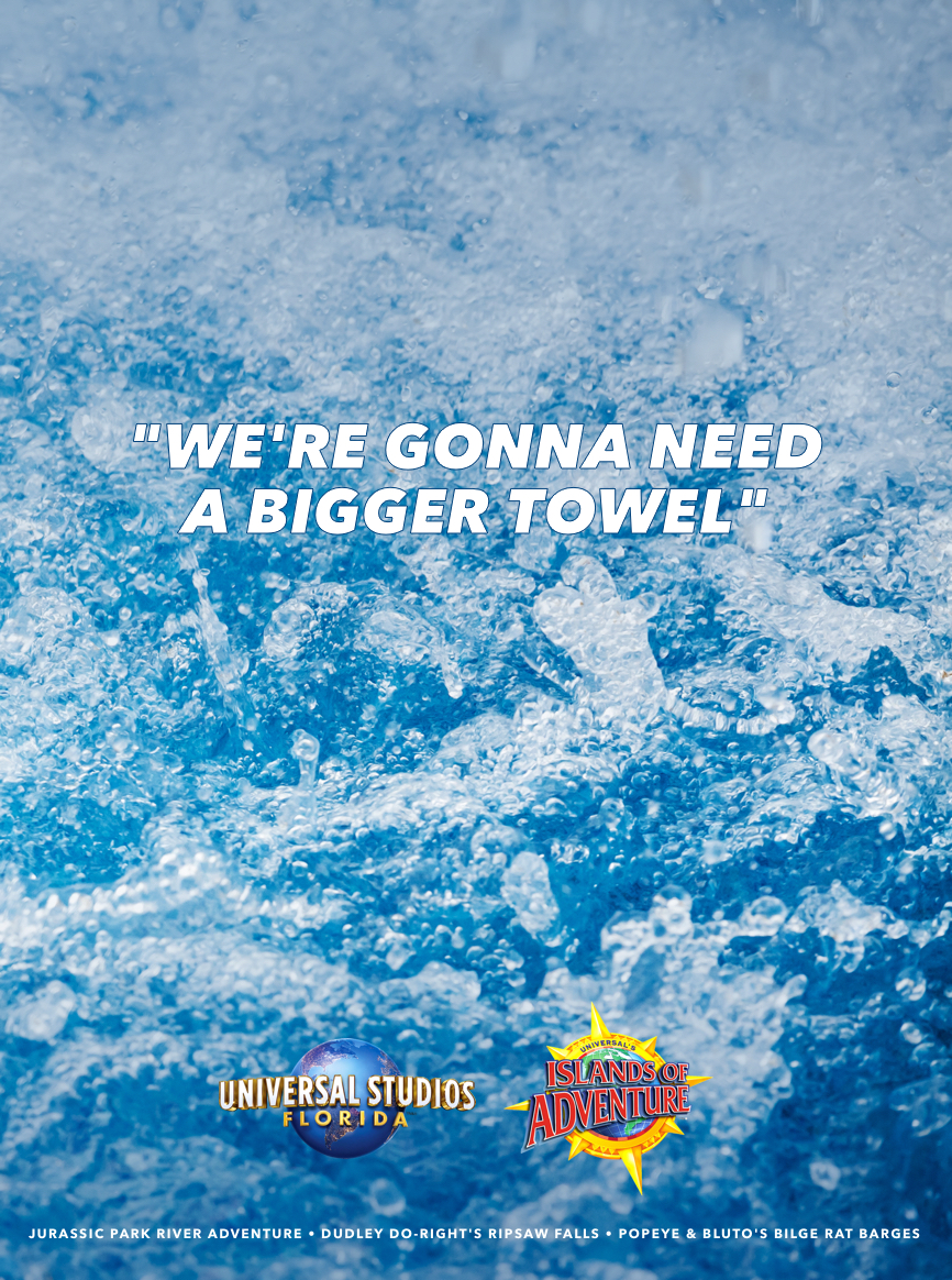 A quick advertising tribute to Universal Studios' water rides