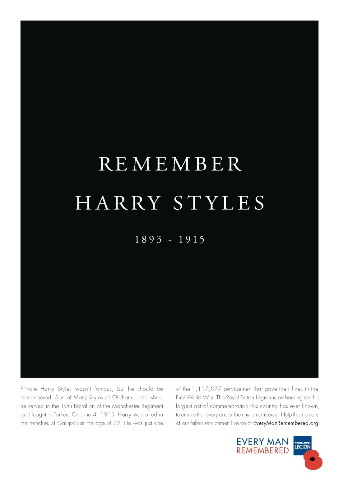british legion harry styles print ad