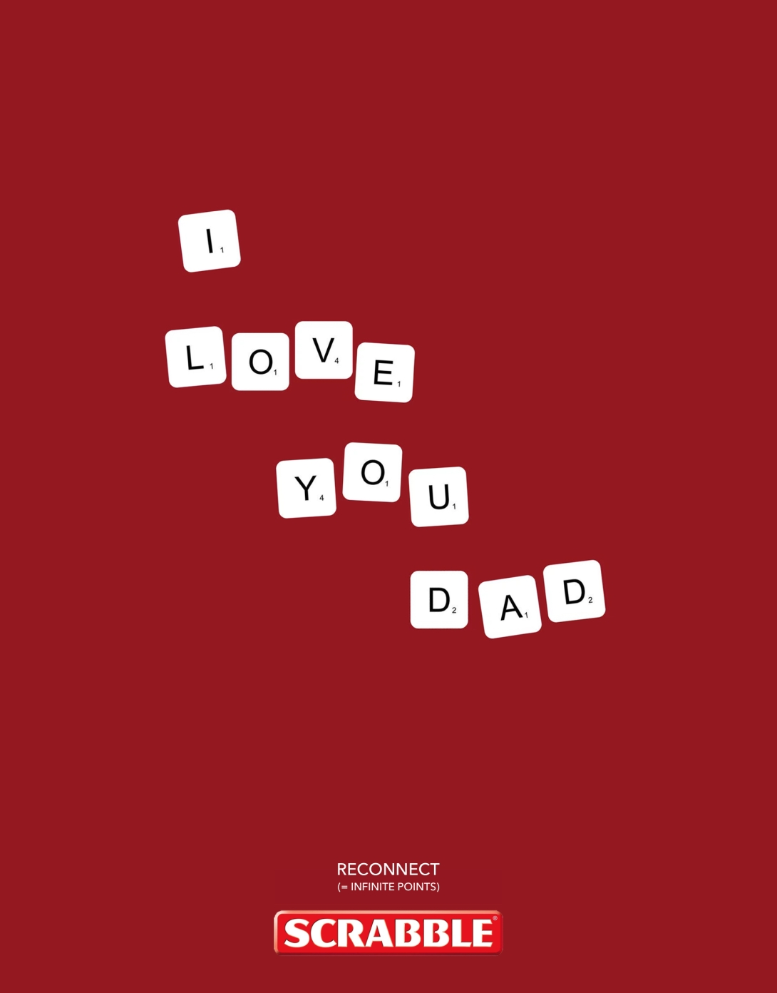 Print advert idea - I love you dad - scrabble