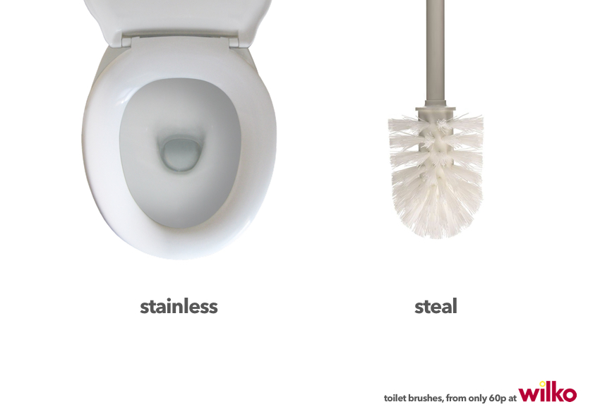 advertising concept for toilet brushes - stainless steal