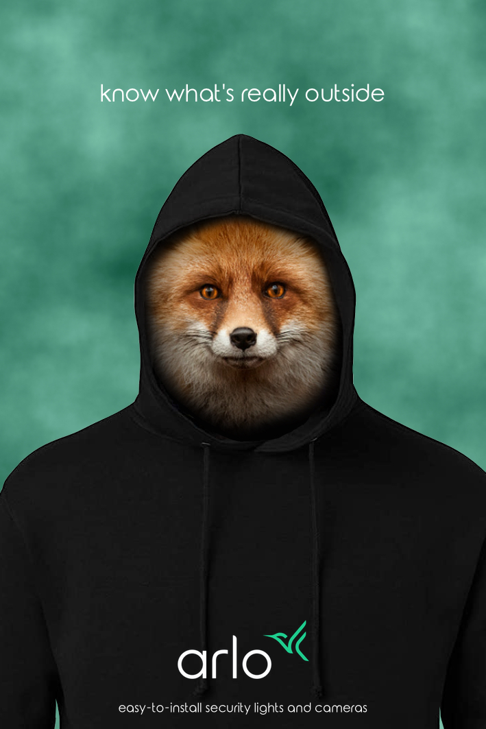 fox in a hoodie - rough advertising concept for a security lighting and camera brand