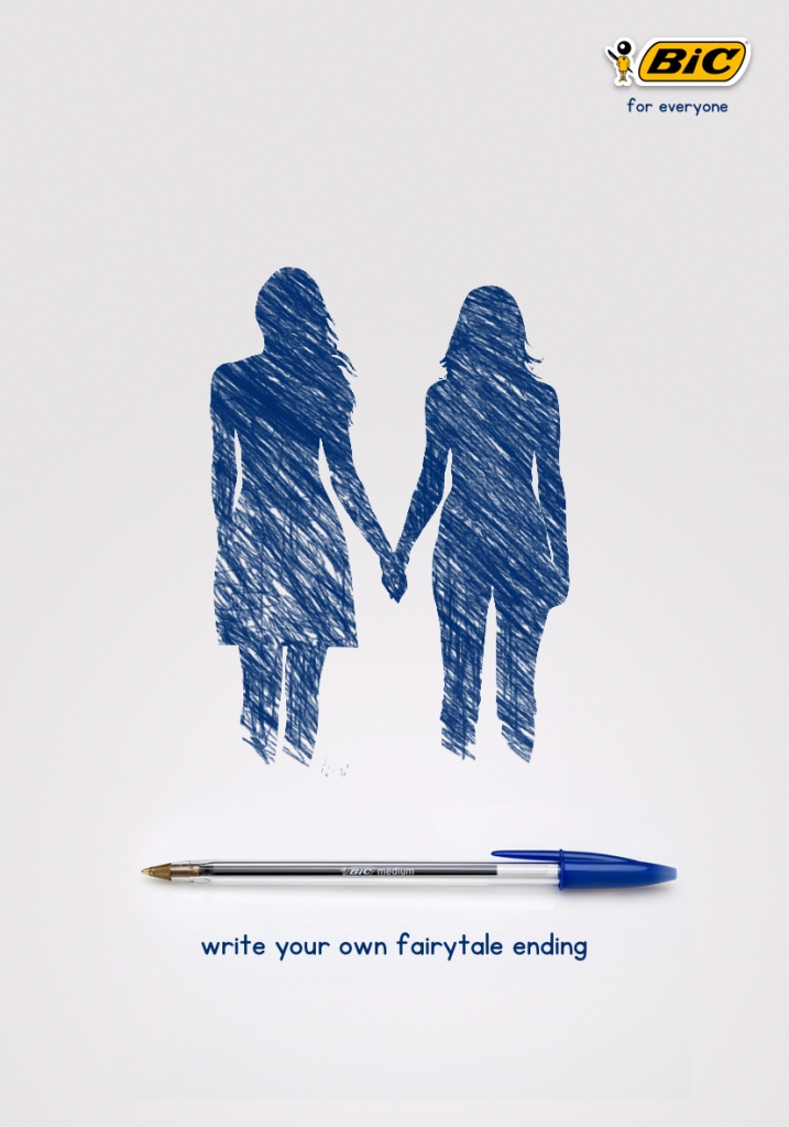 my advertising concept for Bic pens - write your own fairytale ending